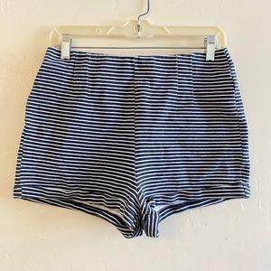 Hollister Blue & White Striped Knit Shorts Size L